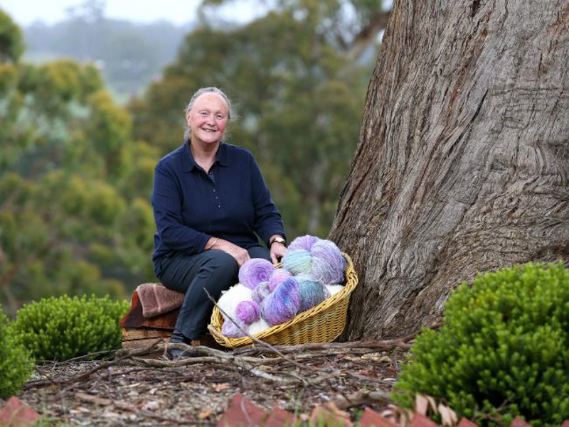 Image of Alison and some of our hand-dyed mohair at the Boolarra Sth farm, image courtesy of The Weekly Times
